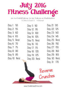 July 2016 Fitness Challenge - Reverse Crunches. #OneRollataTime #fitness #weightloss
